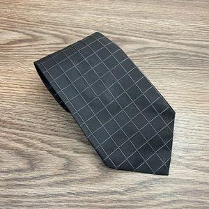Hugo Boss Charcoal w/ Silver Windowpane Silk Tie